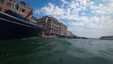 Venice,Italy-July 25, 2018: View of Venice from a gondola Live Action