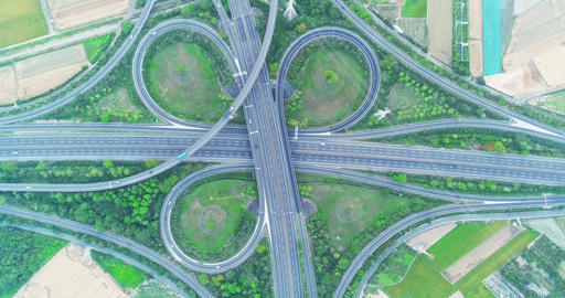 aerial view of highway interchange Live影片