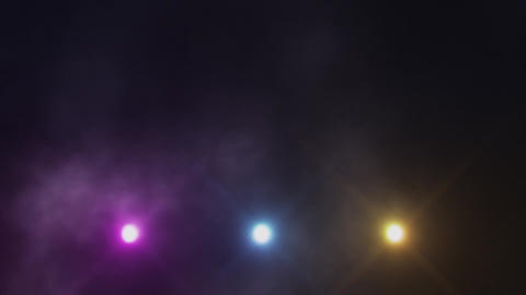 Colorful Triple Stage Lights Below and Smoke VJ Loop Background Animation