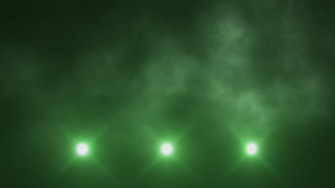 Green Triple Stage Lights Below and Smoke VJ Loop Background Animation