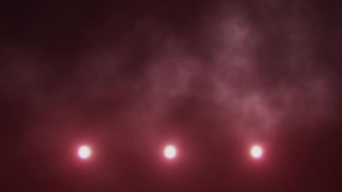 Red Triple Stage Lights Below and Smoke VJ Loop Background Animation
