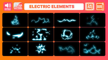 Cartoon Electric Elements folder After Effects Template