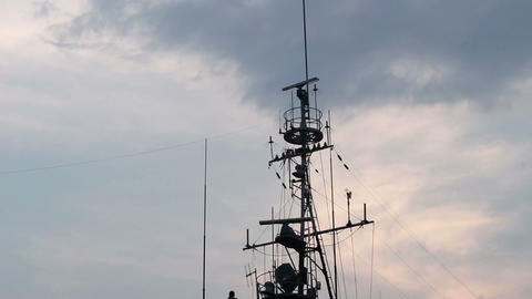 Antenna ship in the evening sky Live Action