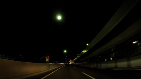 Road in Japan. Night capital highway, Odaiba route 11 ビデオ