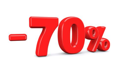 70 percent off discount sign. Red text is isolated on white Photo