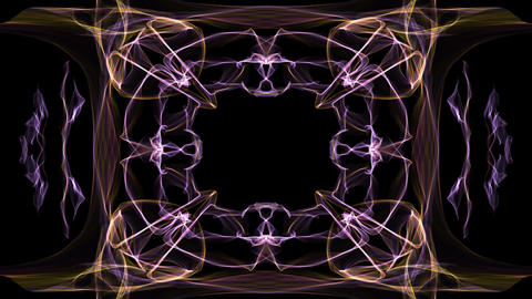 Unusual fractal frame, animated border for own message, orange and purple curves Animation