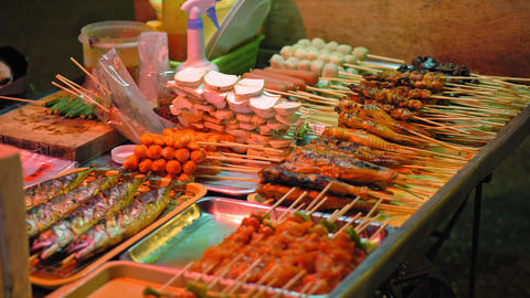traditional Asian food, street food market Live Action