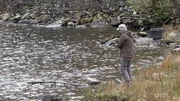 Ogwen Valley / Wales - April 29 2018 : Man fishing in Llyn Ogwen ビデオ