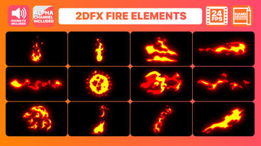 Hand Drawn Fire Elements Pack Premiere Pro Template