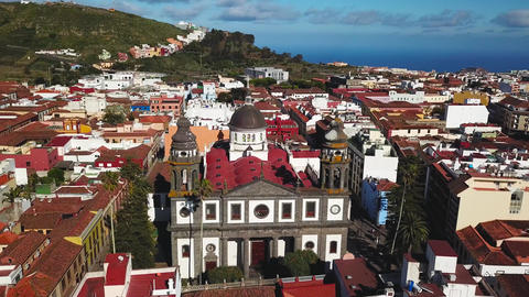 View from the height on Cathedral and townscape San Cristobal De La Laguna Footage