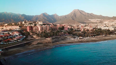 Top view over Los Cristianos, Canary Islands, Tenerife, Spain 영상물