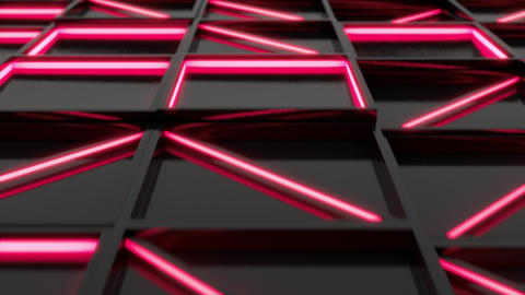 Wall of black rectangle tiles with red glowing elements Animation
