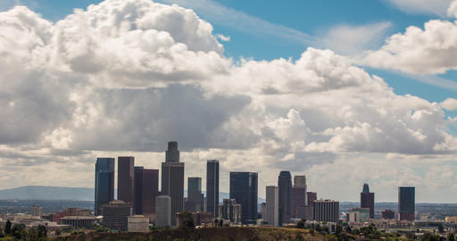 Time Lapse Clouds Above Downtown Los Angeles Live Action