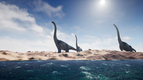 Dinosaurs in prehistoric period on sand landscape. Realistic render. 4K Animation