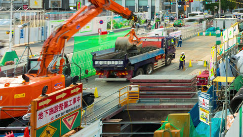 Construction continues in Shibuya, Tokyo in preparation for the 2020 Olympic GIF