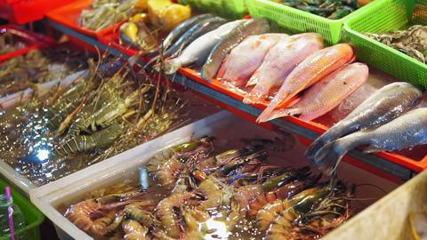 Seafood in the Asian night food market, street food. fish, shrimp, lobsters Footage