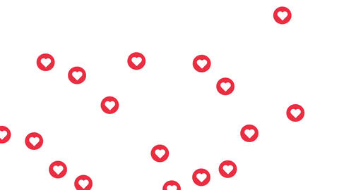 Social media red heart icon symbol, on a white background with alpha matte Animation