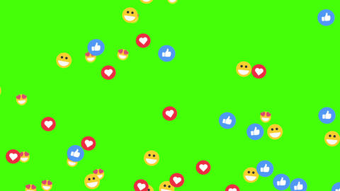 Social media emoticon flying background, on a green screen Animation