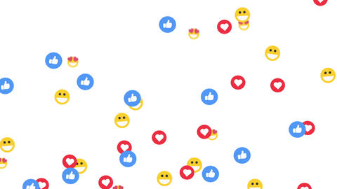 Social media emoticon flying background, on a white background, with alpha matte GIF
