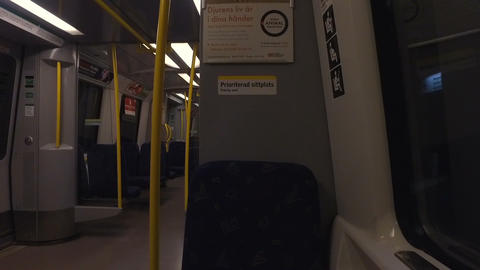 Seats and aisle in the subway carriage Footage