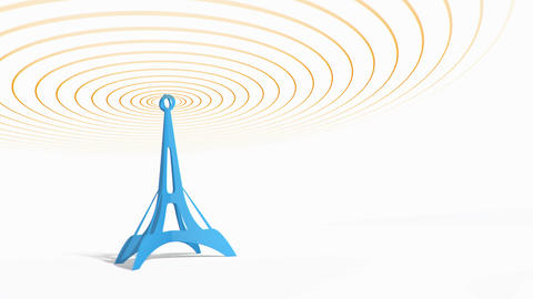Blue antenna tower with radiowave signal animation Animation