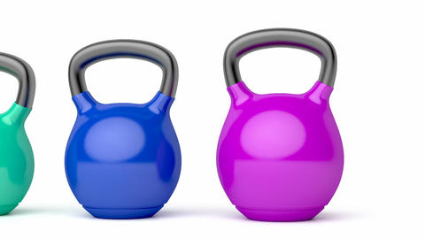 Kettlebells with different sizes and colors Animation
