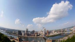 Pittsburgh Skyline Tilt Up Fish Eye Lens Footage