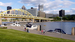 People Jog near Pittsburgh's North Shore Footage