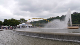 People Around the Fountain in Pittsburgh Footage