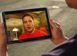 Video Chatting on Tablet PC Footage