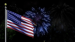 American flag with Fourth of July fireworks, Stock Animation