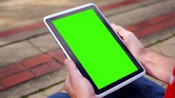 Green Screen iPad in Portrait Mode 3580 Footage