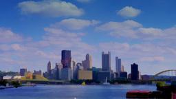 4K UltraHD Watercolor Pittsburgh Skyline Timelapse 3629 Footage