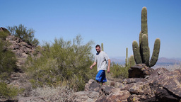 Young Man Desert Hike 3665 Footage