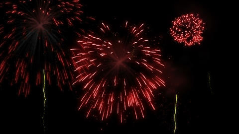 Red fireworks display Animation
