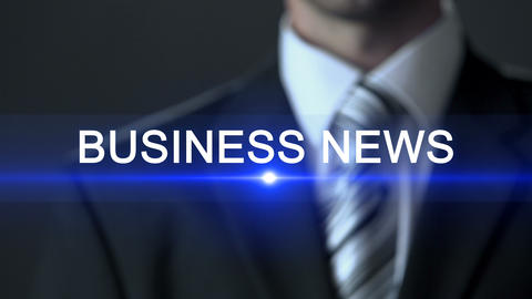 Business news, businessman touching screen, current situation, information ビデオ