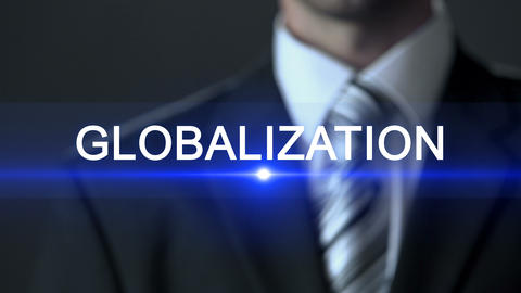 Globalization, businessman in suit touching screen, international relations ビデオ