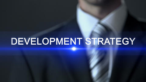 Development strategy, businessman in suit touching screen, action plan, future Live Action
