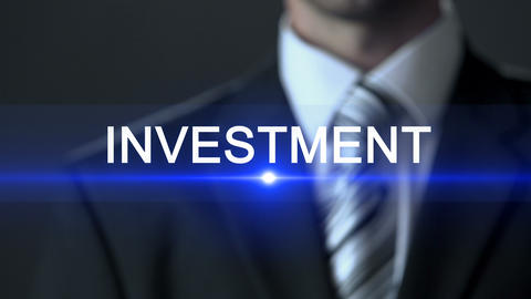 Investment, businessman wearing official suit touching screen, future profit Footage