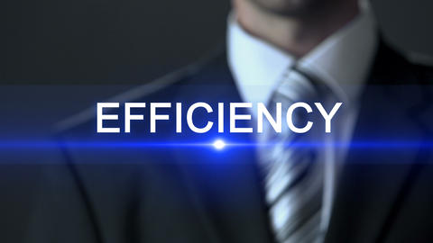 Efficiency, male in official suit touching screen, effectiveness, optimization ビデオ