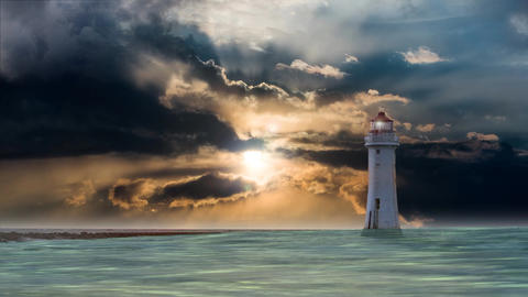 Lighthouse with storm at sea Animation