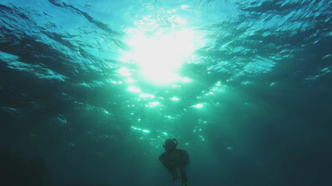 Snorkeling girl swimming towards the camera - backlit 영상물