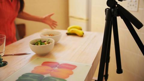 Female video blogger recording video food vlog 4k Live Action