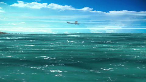 Greenish Sea or ocean waves motion with blue sky and clouds background Animation
