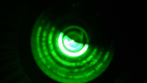 Soft focused spinning green LED lights 실사 촬영