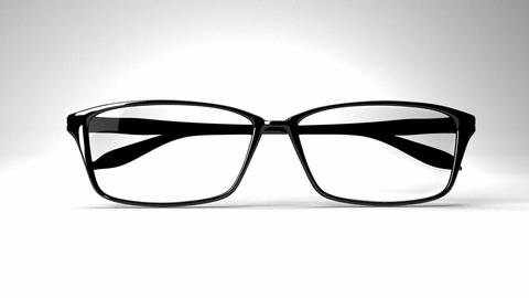 Black Glasses On White Background Animation