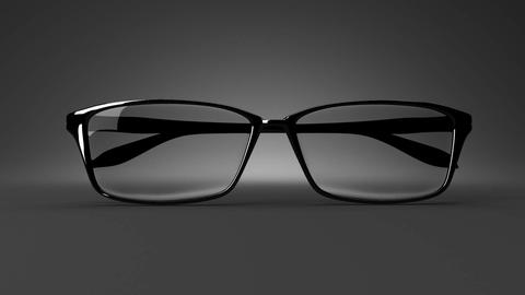 Black Glasses On Black Background Animation