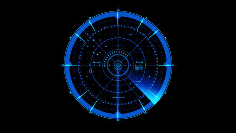 Blue HUD Radar Interface Motion Graphic Element Animation