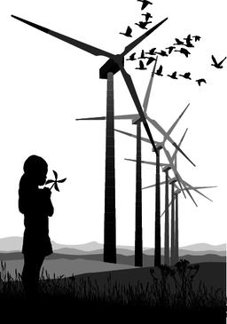 A small girl and Wind Turbine ベクター