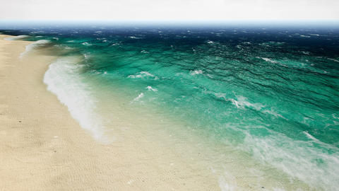 Aerial view waves break on beatiful sand beach. Animation of seamless loop. 4k Animación